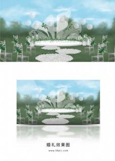 白绿色户外小清新花瓣主题婚礼