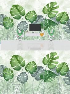 北欧田园手绘植物背景墙