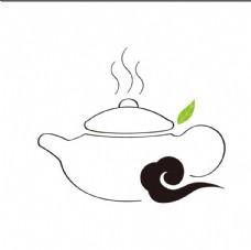茶壶 茶logo 祥云 叶子