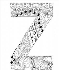 抽象创意花纹字母Z