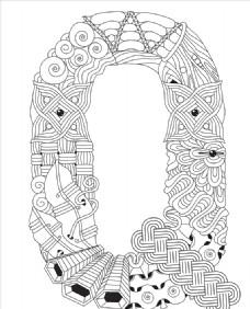 抽象创意花纹字母Q
