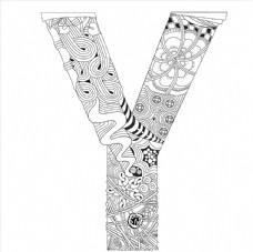 抽象创意花纹字母Y