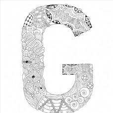 抽象创意花纹字母