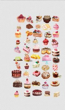 蛋糕可爱手绘小零食下午茶糕点甜