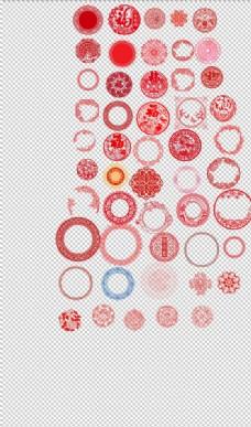 红色喜庆剪纸圆形窗花剪纸中国风