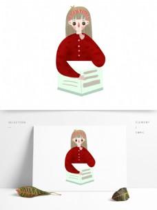 安静看书的女孩免抠元素