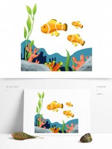 海洋元素之珊瑚与小丑鱼