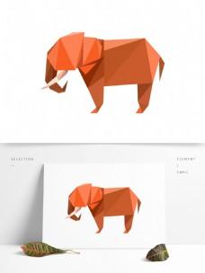 色块化风格动物大象免扣元素