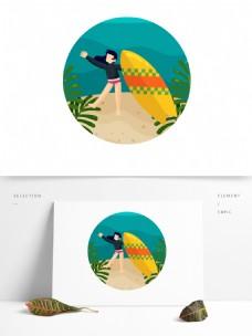 卡通风夏季美女海边嬉戏元素