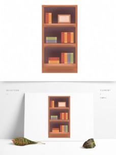 手绘书柜书架和书本设计元素