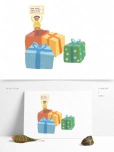 彩色卡通节日礼物
