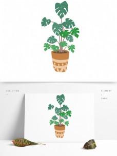 卡通茂盛的植物盆栽设计