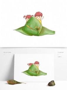小清新手绘端午节粽子小孩