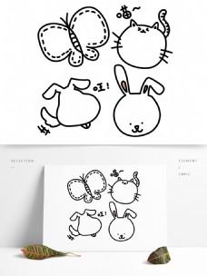 动物手绘可爱卡通边框