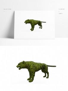 写实豹子模型带贴图png白底图