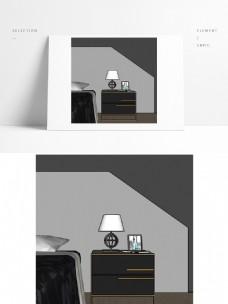 白色现代简约卧室台灯