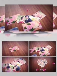 玫瑰花落下婚礼婚庆爱心相册