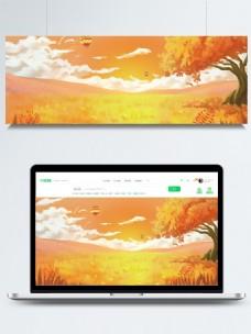 手绘的秋日背景素材