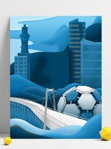 蓝色剪纸风大连建筑背景素材