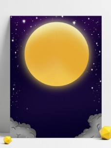 紫色圆月星空背景素材