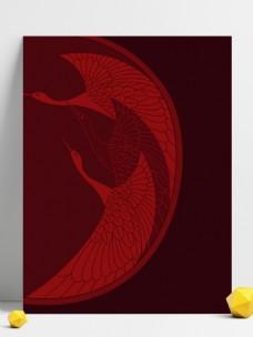 红色中国风鹤鸟背景素材