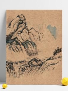 中国风国画山水背景素材