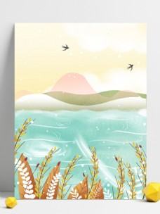 彩绘芒种节大海麦穗背景设计