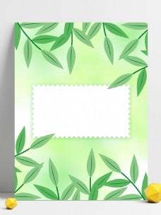 蓝色小清新夏季促销树叶创意背景设计