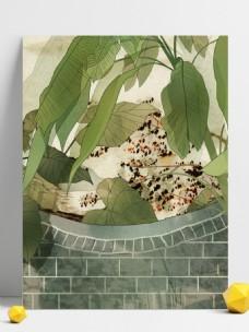 彩绘夏季绿叶盆栽背景