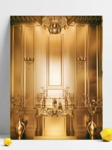 金色空间欧式唯美壁炉3D金属质感背景
