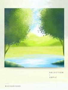 原创手绘小清新卡通山水河流夏季风景背景