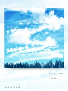 原创手绘蓝色梦幻动漫天空树林背景