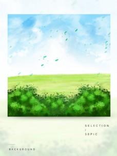 原创唯美手绘蓝天白云小清新风景背景