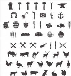 黑白素描生产农业农产品图案