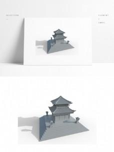 中国风古建筑场景白模