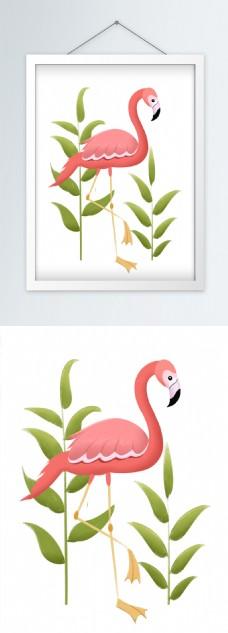北欧小清新火烈鸟装饰画