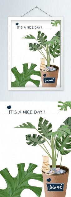原创手绘北欧风格绿色植物猫咪小清新装饰画