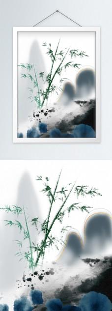 简约中国风竹林客厅装饰画