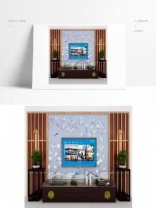 山水风景新中式电视背景墙