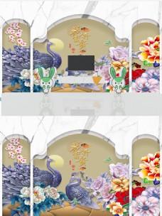 新中式浮雕花朵孔雀大理石背景墙