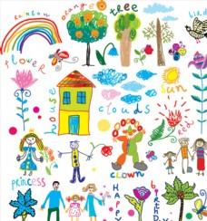 儿童画 插画 涂鸦 矢量画