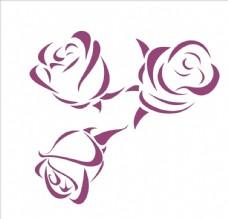 矢量玫瑰花剪影
