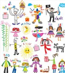 儿童画 插画 涂鸦 矢量