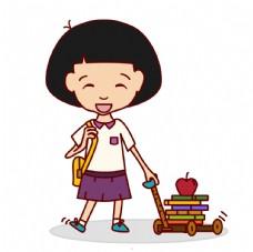 可爱的女孩上学