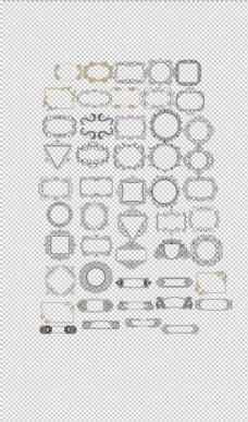 手绘欧式复古边框相框PNG合集