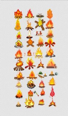 篝火手绘卡通火堆野营露营篝火