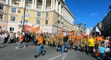俄羅斯海參崴老虎節游行慶祝