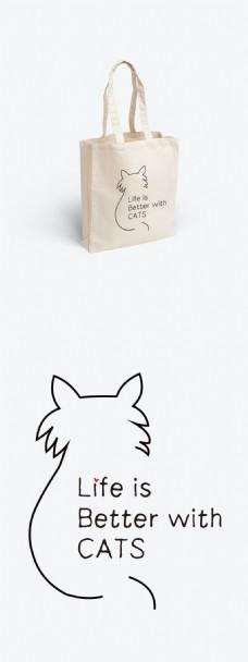 卡通猫帆布袋画面