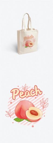 简约清新手绘桃子环保帆布袋手提袋印花包装