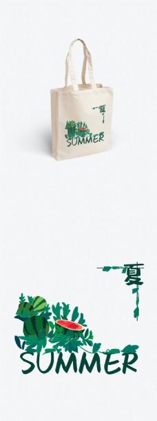 夏天西瓜植物绿色帆布袋包装设计